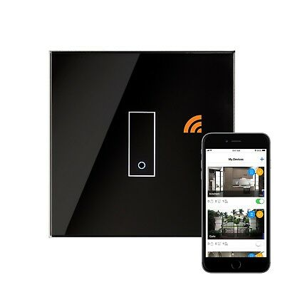 RetroTouch iotty Touch & Remote Smart Wifi Switch 1 Gang Black Glass 03501