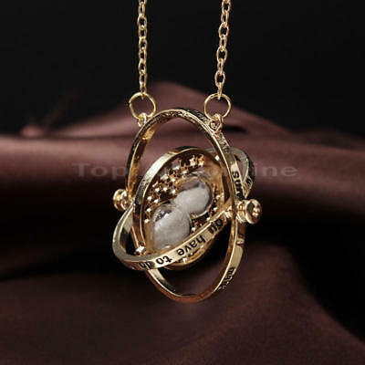 Harry Potter Time Turner Granger Rotating Spins Hourglass Sand Necklace Jewelry