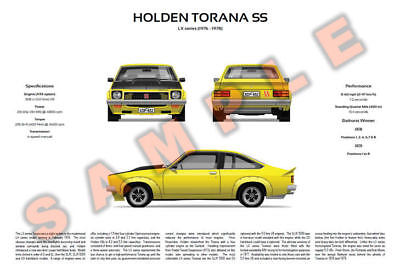 Holden LX Torana SL, SS and SS A9X hatch personalised poster