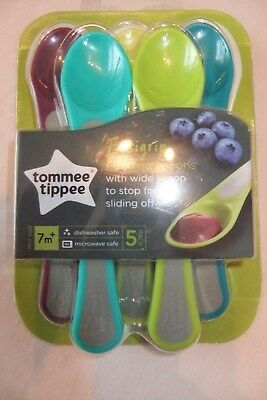 5 Tommee Tippee Easy Grip Weaning/Feeding Spoons New Colours 7 months+ *BNIP*