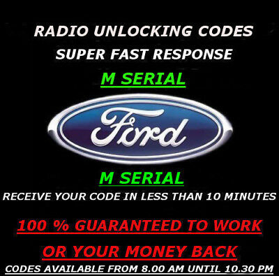 M Serial Ford Radio Unlock Code 3000 4000 4500 5000 6000Rds(Please Read Listing)