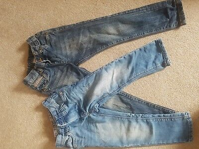 Two Pairs Of Boys Denim Jeans. Aged 3  Next And Ladybird. Adjustable Waistbands.