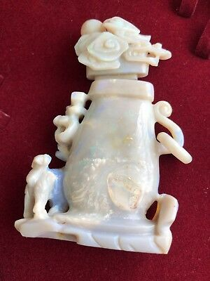 Chinese Opal Snuff Bottle Carved Antique