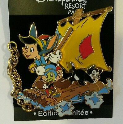 Disney Pin Le Dlrp Paris Pinocchio Jiminy Cricket Figaro Cat Train Series