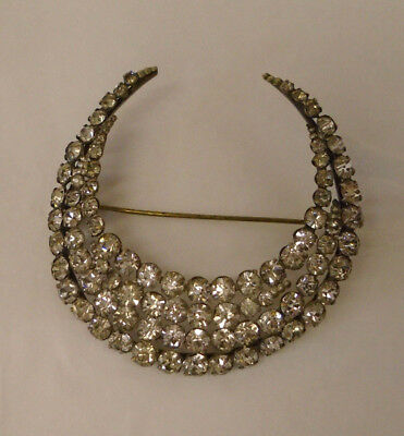 Beautiful Antique / Vintage Victorian Large Crescent Moon Brooch - Very Sparkly
