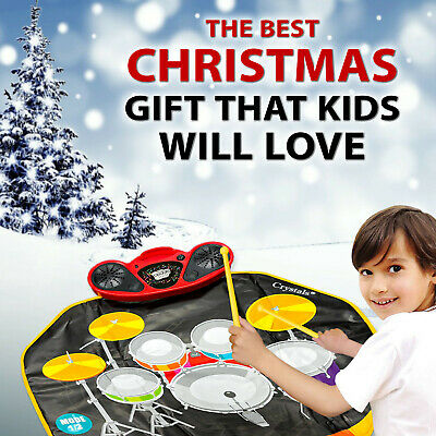 Kids Musical Electronic Drum Kit Stick Touch Play Mat Music Sound Play Toy Mp3