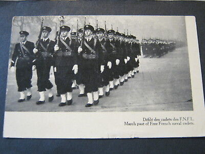 POSTCARD FREE FRENCH NAVAL CADETS with PIERRE et MIQUELON STAMP SG 306 - 1942