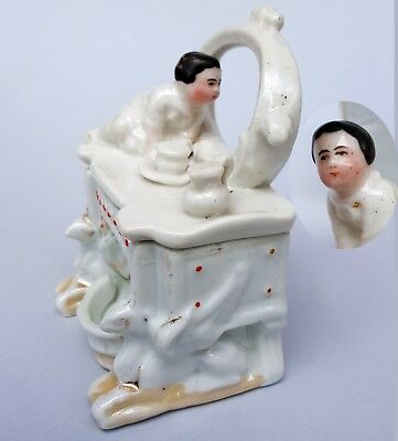 Porcelain fairing trinket dresser box baby infant on dresser bureau china dolls