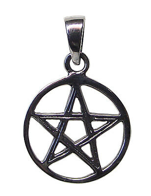 PENTAGRAM in Circle PENDANT 925 Sterling SILVER 20mm diameter : Wicca Star