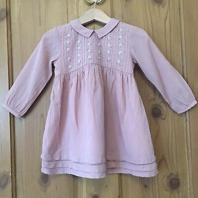 Gorgeous Next Baby Girl Dress 12-18 Months - Dusty Dusky Pink Collar Flowers