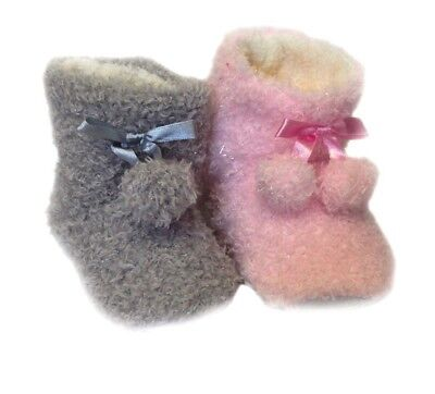 New Kids Girls Childrens Fluffy Soft Comfy Pull-On Indoor Boots Booties Shoes Uk