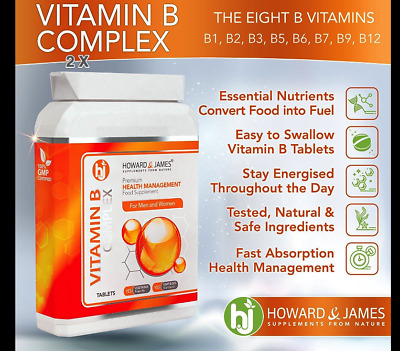VITAMIN B COMPLEX (120 Tablets) Vegetarian & Vegan Friendly Tablets | Contains 1