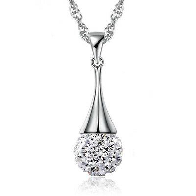 925 Sterling Silver Crystal Ball Drop Pendant Necklace For Women Fashion Jewelry