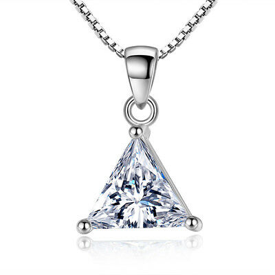925 Sterling Silver Trigonal Zircon Pendant Necklace For Women Fashion Jewelry
