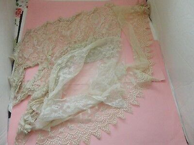 Antique  Victorian Edwardian Tambour Net Lace  For Dolls Crafts Art Projects