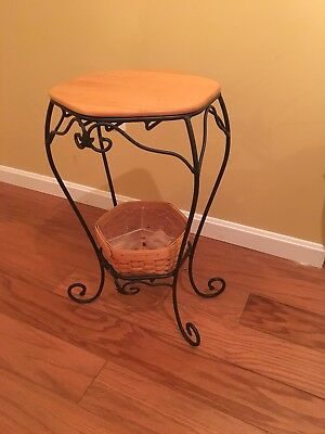 Longaberger wrought iron plant stand/side table w/ woodcraft shelf and basket