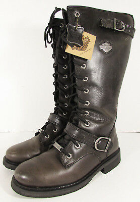 3a4e6df0413 HARLEY DAVIDSON WOMENS Jill Tall Lace Up Motorcycle Boot Shoes ...
