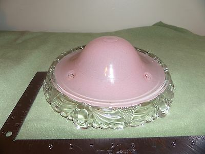 Vintage Art Deco Frosted Pink Glass Shade Chandelier Ceiling Light Fixture