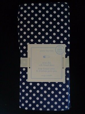 Pottery barn KIDS MINI DOT CRIB FITTED SHEET~NAVY/ WHITE -NEW W/ TAGS-