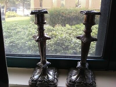 2 Antique Vintage Column Candle Stick Holders - Beautiful Ornate Silver Plate?
