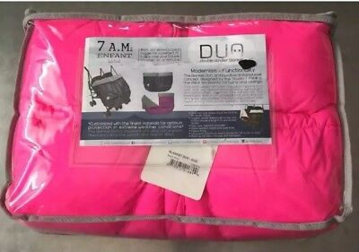 7 A.M. Enfant DUO Double Stroller Blanket HOT NEON PINK Muff