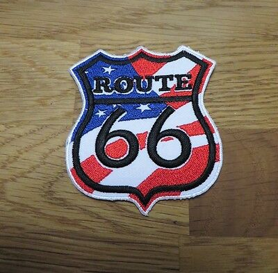 Route 66 USA Highway Biker Harley Davidson Stars & Stripes Trump Aufnäher/bügler