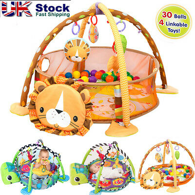 UK Turtle Baby Gym 3 in 1 Activity Play Floor Mat Ball Pit & Toys Babies Playmat