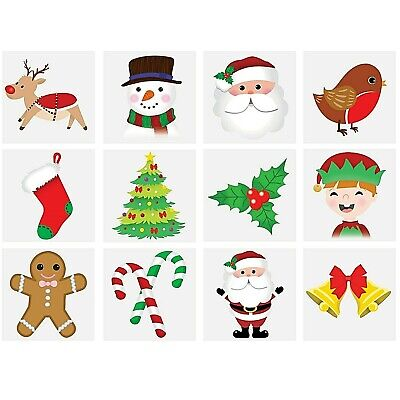 12 Christmas Temporary Tattoos Girls Boys Kids Childrens Party Stocking Fillers