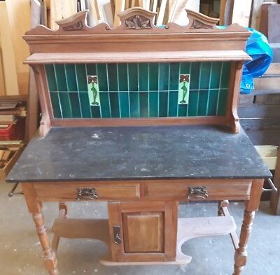 Antique Victorian Tiled Wash Stand