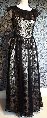 Vintage 1940s 1950s Dress Original Gown Lace steampunk Satin And Black Lace goth