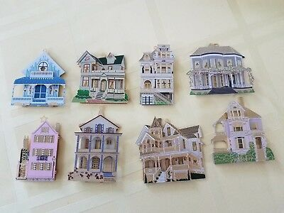 1990's 8 Shelia's Collectibles Ornament Lot Fist Edition House