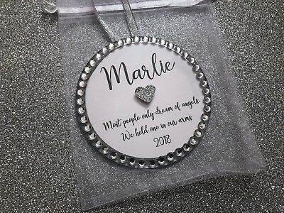 Personalised Child/Baby Memorial Christmas Tree Decoration - Colour Choice + Bag