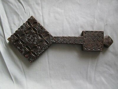 Rare Antique Ethiopian Orthodox Hand Blessing Cross Wood Coptic Inscription 13""