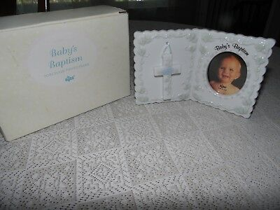 Nib Russ Berrie & Co Porcelain Baby's Baptism Photo Picture Frame