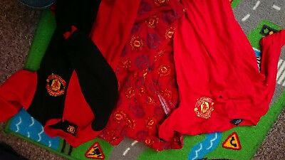 3 X Manchester United FC Official Football Gift Boys Kids Baby Pyjamas
