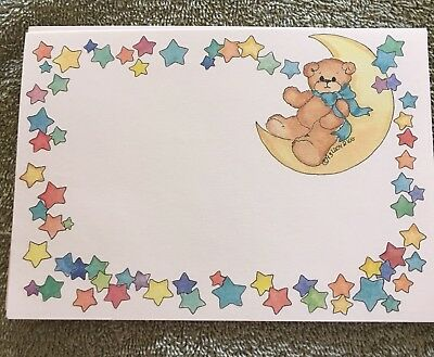 "Bear On Moon Baby Invitations 15 Pcs No Envelopes 6 3/4"" X 4 3/4"""