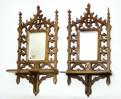 A pair of Vintage Carved Beech Mirror back Shelves - FREE Shipping [PL4702]
