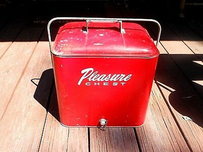 1950's Red Metal Soft Drink Beer Chest Cooler Opener on Side called PLEASURE GUC