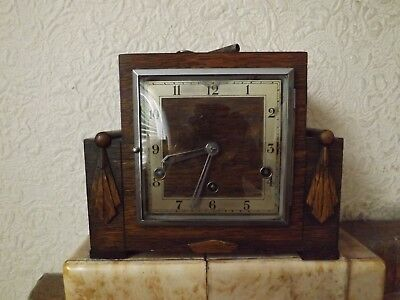 Vintage English Made Art Deco Wooden Westminster Mantel Clock