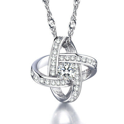925 Sterling Silver Crystal Stellar Shape Pendant Necklace For Women Jewelry