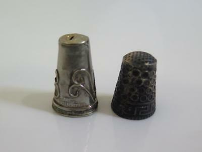 B51 Antique Sterling Silver 925 Thimbles Set of 2 6g