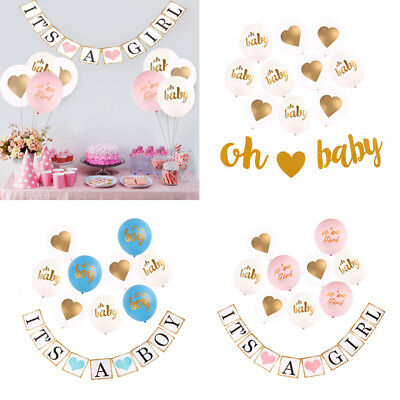 Baby Shower Banner Flag Pennant Bunting Garland Partyware Party Decor Balloons