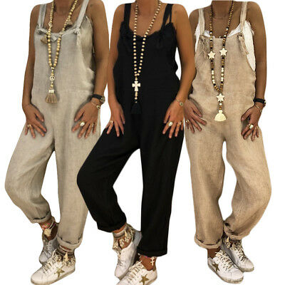 Womens Loose Strap Jumpsuit Casual Wide Leg Trousers Girl Overall Linen Pants #A