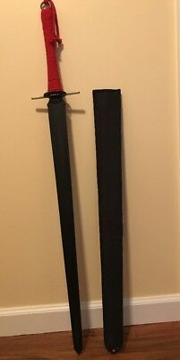 Black Sword- Double Bladded- Red Coarded Handle- Black Canvas Sheath