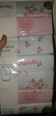 *Brand New In Packet* 7 George Girls Short Sleeved Vests/Bodysuits. 18-24 Months