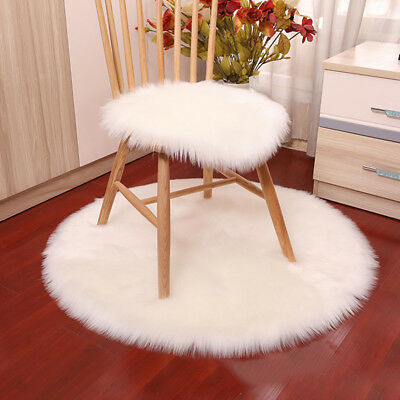 Round Bedroom Soft Chair Cover Rugs Seat Cushion Home Decor Sheepskin Faux Fur