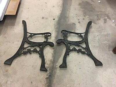 Vintage Pair Cast Iron Bench Seat Ends Ornate W/ Roses