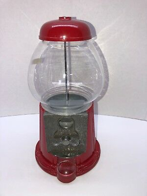 Bubble Gum Gumball Candy Machine Bank Red Metal And Glass Coin Operated Vintage
