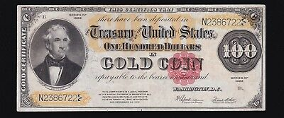 US 1922 $100 Gold Certificate FR 1215 VF-XF (-722)