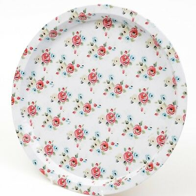Serving Tray Floral Round Tin Kitchen Coffee Tea Wine Drinks Food